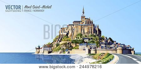 Mont Saint Michel Cathedral On The Island. Abbey. Normandy, Northern France, Europe. Landscape. Beau