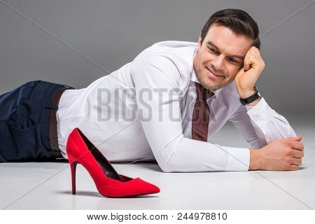 Smiling Businessman Looking At Female Red Hill, Isolated On Grey, Feminism Concept