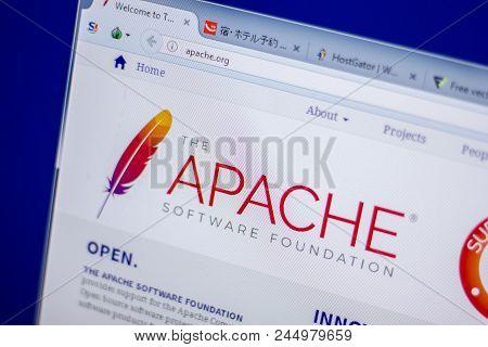 Ryazan, Russia - June 05, 2018: Homepage Of Apache Website On The Display Of Pc, Url - Apache.org