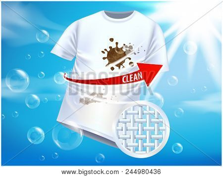Ad Vector Template Or Magazine Design. Ads Poster Design On Blue Background With White T-shirt And S