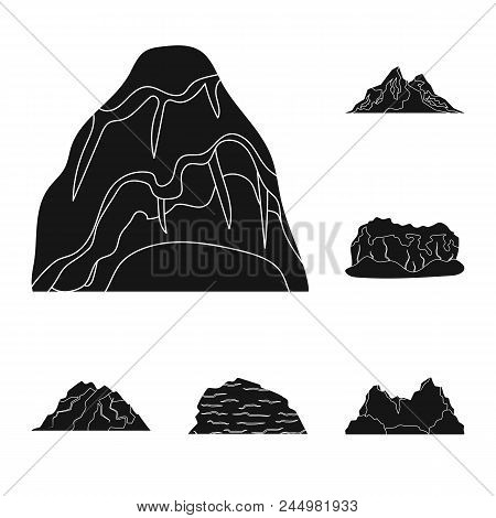 Different Mountains Black Icons In Set Collection For Design.mountains And Landscape Vector Symbol S
