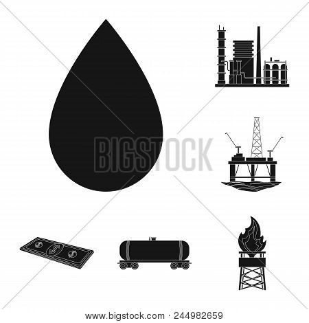 Oil Industry Black Icons In Set Collection For Design. Equipment And Oil Production Vector Symbol St