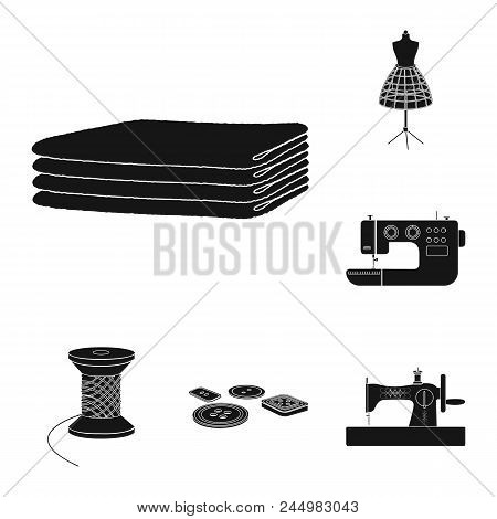 Atelier And Equipment Black Icons In Set Collection For Design. Sewing Of Outer Clothing Vector Symb