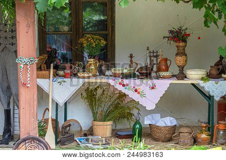 Timisoara, Romania - June 10, 2018: Traditional Hungarian Objects Exhibited On One Home Porch, Of Th
