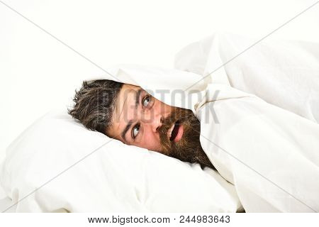 Man With Beard And Mustache Hiding In Bed Under Blanket At Home. Guy With Surprised Face Lay Under W