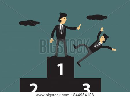 Cartoon Businessman Standing The First Place On Three-level Podium Pushing Away His Competitor. Crea