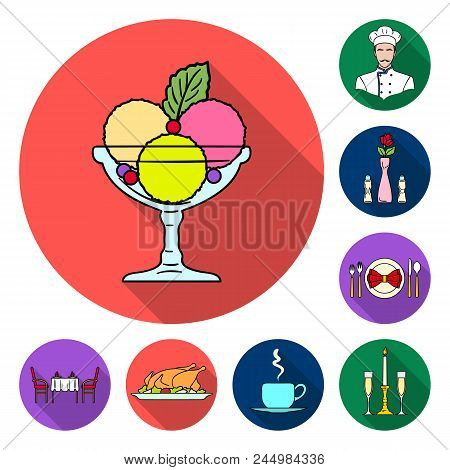 Restaurant And Bar Flat Icons In Set Collection For Design. Pleasure, Food And Alcohol Vector Symbol