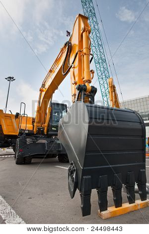 Moscow, Russia - June 02:  Yellow Diesel Excavator On Display At Moscow International Exhibition Con