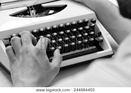 Typography And Writing Concept. Writer Typing With Retro Writing Machine. Old Typewriter And Authors
