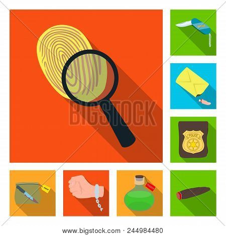 Detective Agency Flat Icons In Set Collection For Design. Crime And Investigation Vector Symbol Stoc