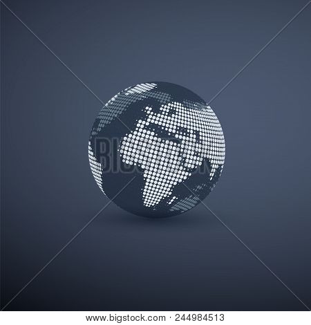 Spotted Earth Globe Design - Global Business, Technology, Globalization Concept, Vector Design Templ