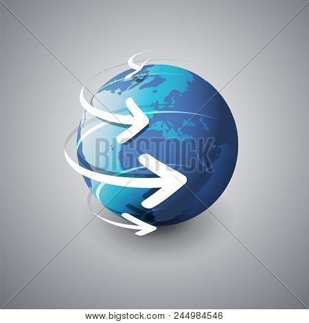 Earth Globe Design - Global Business, Technology, Globalization Concept, Vector Design Template