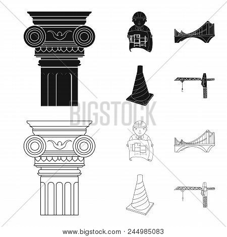 Column, Master With Drawing, Bridge, Index Cone. Architecture Set Collection Icons In Black, Outline