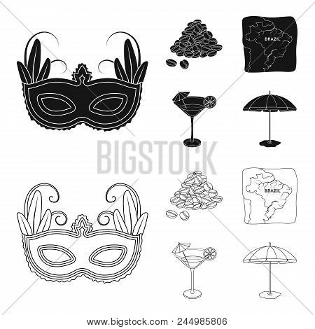 Brazil, Country, Mask, Carnival . Brazil Country Set Collection Icons In Black, Outline Style Vector