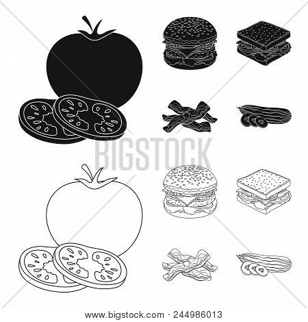 Burger And Ingredients Black, Outline Icons In Set Collection For Design. Burger Cooking Vector Symb