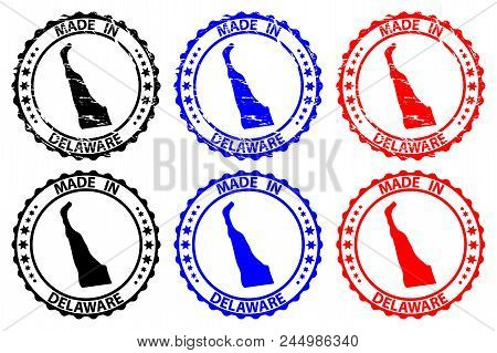 Made In Delaware - Rubber Stamp - Vector, Delaware (united States Of America) Map Pattern - Black, B