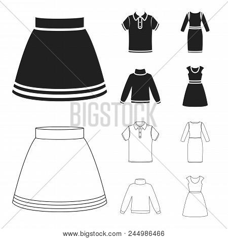 Skirt, T-shirt, Sweater, Dress With Long Sleeves.clothing Set Collection Icons In Black, Outline Sty