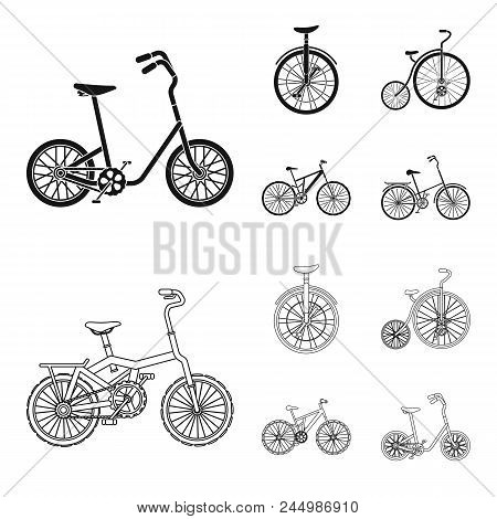 Retro, Unicycle And Other Kinds.different Bicycles Set Collection Icons In Black, Outline Style Vect