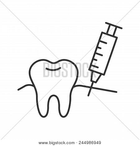 Gum injection linear icon. Thin line illustration. Dental anesthesia. Contour symbol. Vector isolated drawing poster