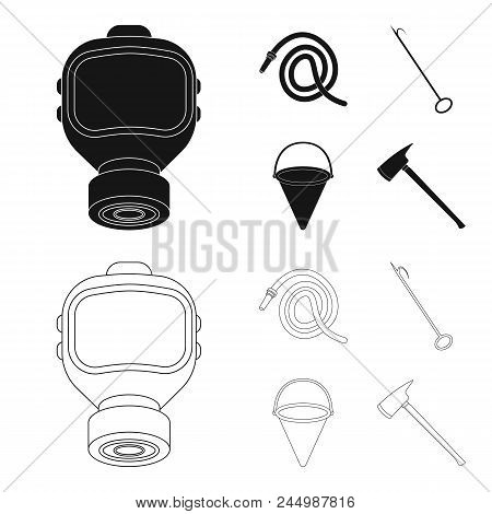 Gas Mask, Hose, Bucket, Bagore. Fire Department Set Collection Icons In Black, Outline Style Vector