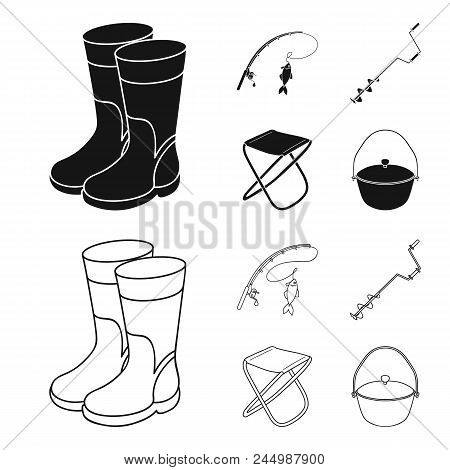 Fishing, Fish, Catch, Fishing Rod .fishing Set Collection Icons In Black, Outline Style Vector Symbo
