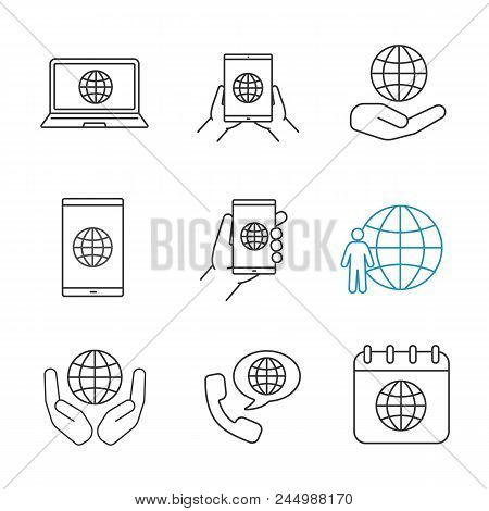 Worldwide Linear Icons Set. Tablet Pc Internet, Smartphone And Laptop, Planet In Hands, Earth Popula