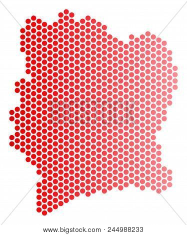 Red Circle Dot Ivory Coast Map. Geographic Plan In Red Color With Horizontal Gradient. Vector Concep