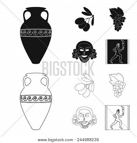 Greece, Olive, Branch, Vase .greece Set Collection Icons In Black, Outline Style Vector Symbol Stock