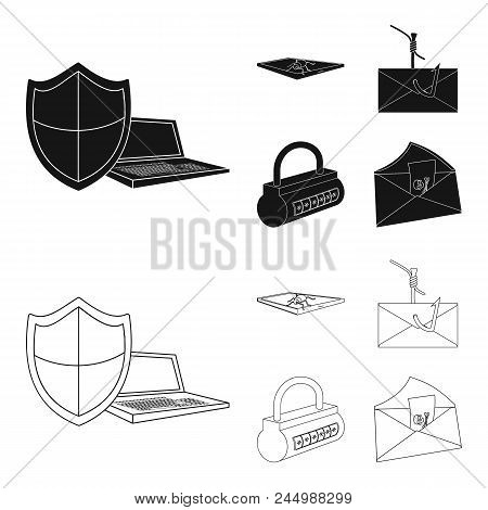 Hacker, System, Connection .hackers And Hacking Set Collection Icons In Black, Outline Style Vector
