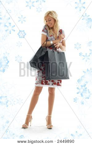 Shopping Girl With Snowflakes #3