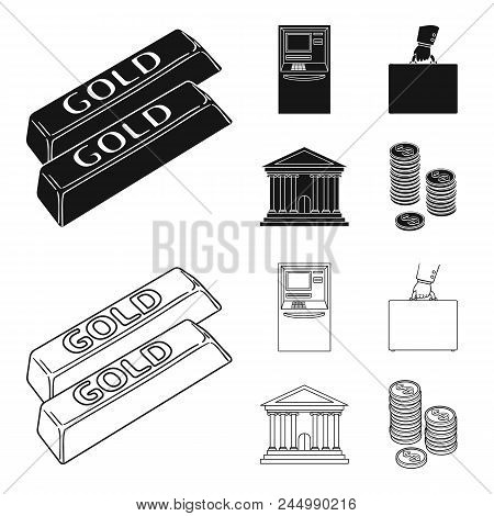 Gold Bars, Atm, Bank Building, A Case With Money. Money And Finance Set Collection Icons In Black, O