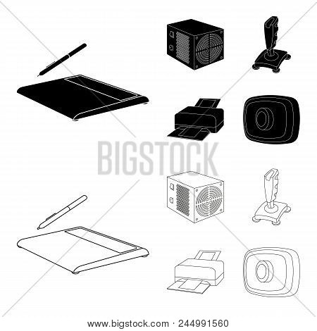 Power Unit, Dzhostik And Other Equipment. Personal Computer Set Collection Icons In Black, Outline S