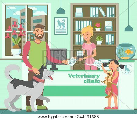 Cartoon Bearded Man With Husky And Girl With Cat At Reception In Veterinary Clinic. Pet Owners Broug