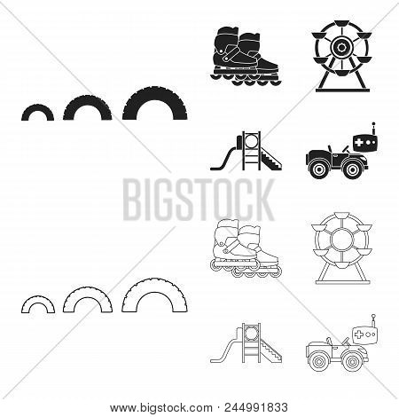 Ferris Wheel With Ladder, Scooter. Playground Set Collection Icons In Black, Outline Style Vector Sy