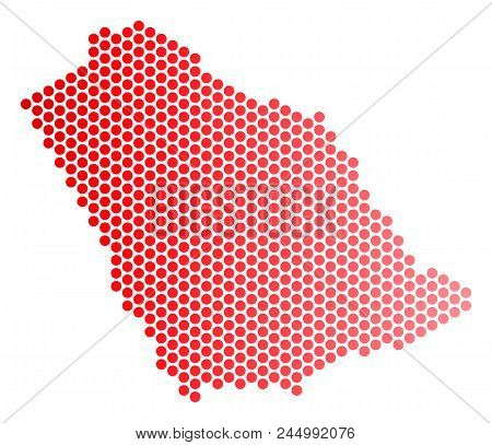 Red Pixelated Saudi Arabia Map. Geographic Plan In Red Color With Horizontal Gradient. Vector Mosaic