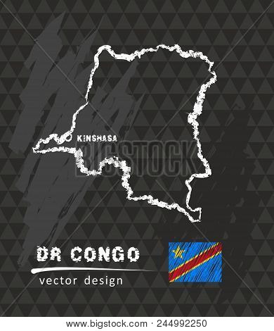 Democratic Republic Of The Congo Map, Vector Pen Drawing On Black Background