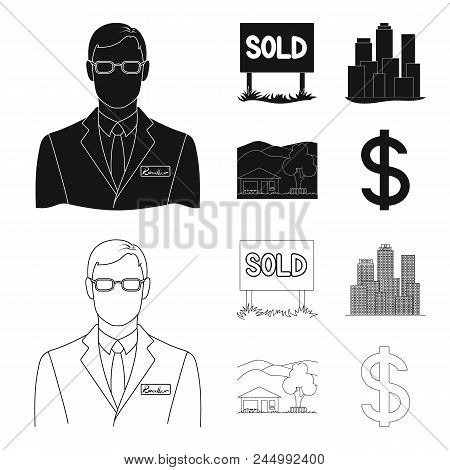 Employee Of The Agency, Sold, Metropolis, Country House. Realtor Set Collection Icons In Black, Outl