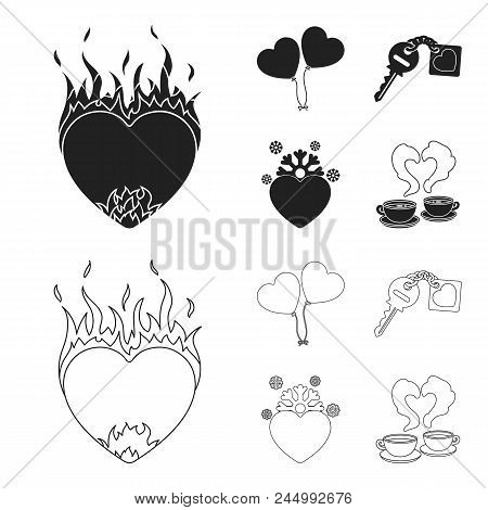 Hot Heart, Balloons, A Key With A Charm, A Cold Heart. Romantic Set Collection Icons In Black, Outli