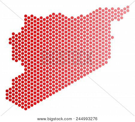 Red Dotted Syria Map. Geographic Scheme In Red Color With Horizontal Gradient. Vector Composition Of