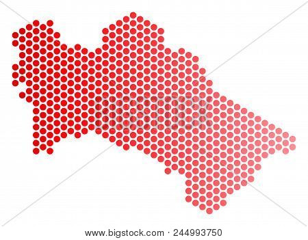 Red Pixelated Turkmenistan Map. Geographic Plan In Red Color With Horizontal Gradient. Vector Mosaic