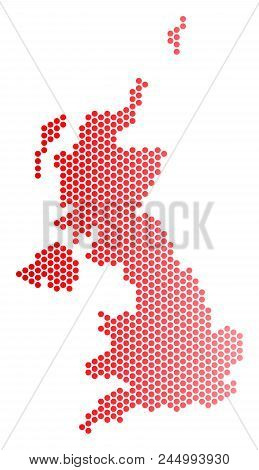 Red Circle Dot United Kingdom Map. Geographic Scheme In Red Color With Horizontal Gradient. Vector C