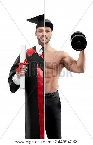Photo Comparison Of University's Graduate And Fitnesstrainer Outlook.