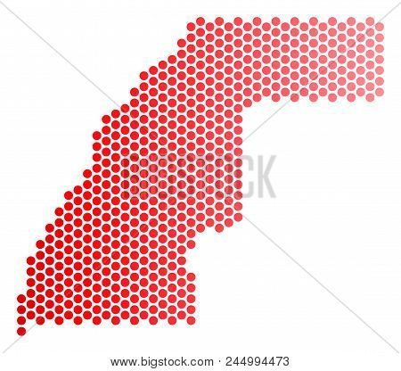 Red Round Spot Western Sahara Map. Geographic Plan In Red Color With Horizontal Gradient. Vector Mos