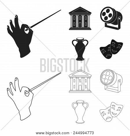 Conductor's Baton, Theater Building, Searchlight, Amphora.theatre Set Collection Icons In Black,outl