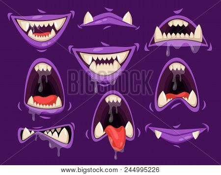 Set Of Isolated Vampire Mouth With Fangs Or Monster Lips With Saliva Dripping, Bat Jaw With Tongue.