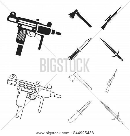 Ax, Automatic, Sniper Rifle, Combat Knife. Weapons Set Collection Icons In Black, Outline Style Vect