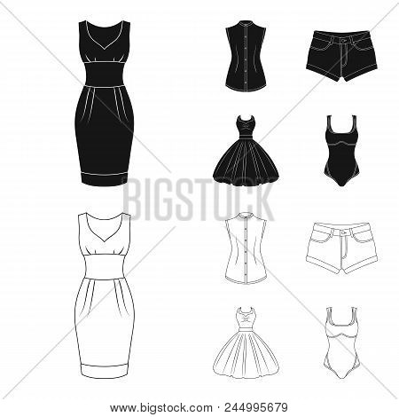 Women's Clothing Black,outline Icons In Set Collection For Design.clothing Varieties And Accessories