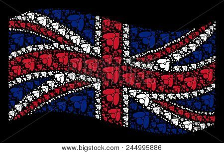 Waving Uk State Flag On A Black Background. Vector Fly Insect Design Elements Are Placed Into Concep