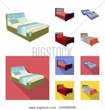 Different Beds Cartoon, Flat Icons In Set Collection For Design. Furniture For Sleeping Vector Isome
