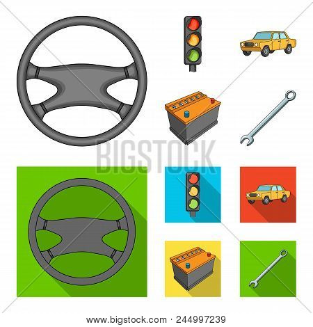Traffic Light, Old Car, Battery, Wrench, Car Set Collection Icons In Cartoon, Flat Style Vector Symb